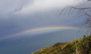 太平洋に架かる虹